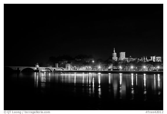 Avignon skyline at night with lights reflected in Rhone River. Avignon, Provence, France (black and white)