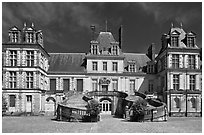 Palace of Fontainebleau. France ( black and white)