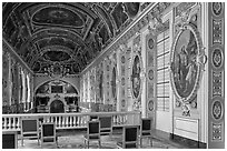 Chapel seen from upper floor, Fontainebleau Palace. France ( black and white)