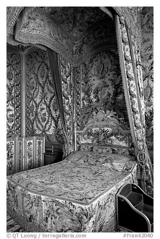 Queen's room, Fontainebleau Palace. France (black and white)