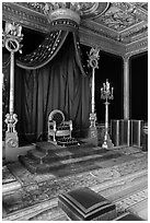 Throne room, Palace of Fontainebleau. France ( black and white)