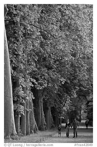 Family walking in gardens, Chateau de Fontainebleau. France