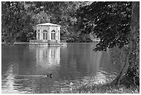 Pavillion and Etang des Carpes, Fontainebleau Palace. France ( black and white)
