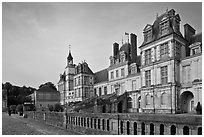 Palace of Fontainebleau, late afternoon. France ( black and white)