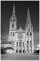 Flamboyant and pyramidal spires, Chartres Cathedral. France ( black and white)