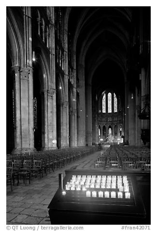 Candles, nave, and apse, Cathedral of Our Lady of Chartres,. France (black and white)