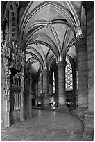 Ambulatory, Cathedrale Notre-Dame de Chartres. France ( black and white)