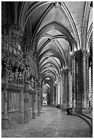 Sanctuary and Ambulatory, Cathedral of Our Lady of Chartres,. France ( black and white)