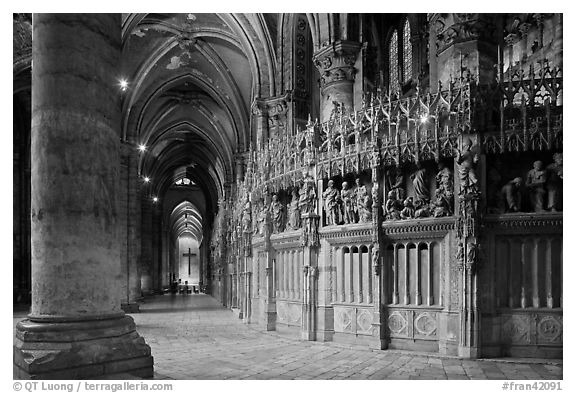 Sanctuary and Aisle, Cathedral of Our Lady of Chartres,. France (black and white)