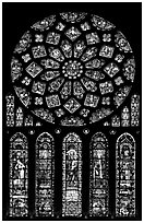 Set of rose window with five lancets called Rose of France, Chartres Cathedral. France ( black and white)