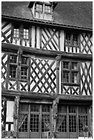 Facade of medieval half-timbered house, Chartres. France ( black and white)