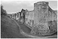 Ramparts, Provins. France ( black and white)