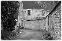 Street and stone wall, Provins. France ( black and white)