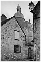 Stone houses and dome of Saint Quiriace Collegiate Church, Provins. France ( black and white)