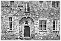 Facade of stone house, Provins. France ( black and white)
