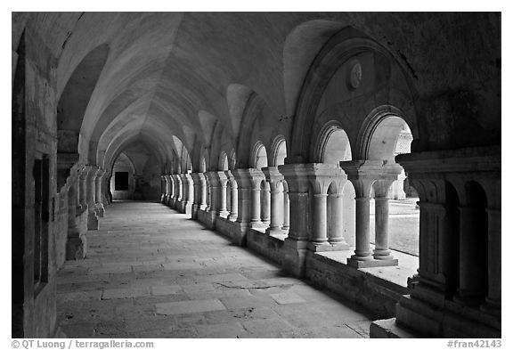 Cloister, Cistercian Abbey of Fontenay. Burgundy, France (black and white)