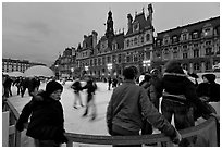 Skating rink, Hotel de Ville. Paris, France (black and white)