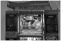 Street food vendor, Montmartre. Paris, France (black and white)