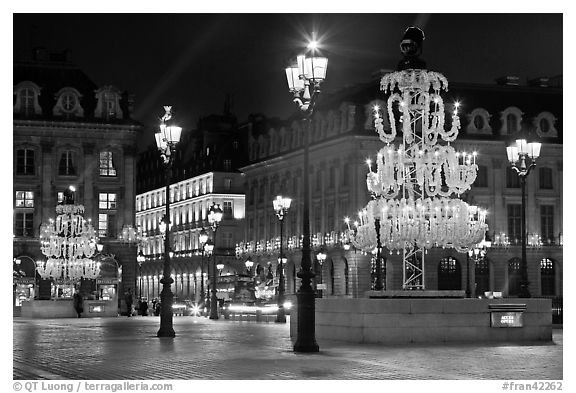 Christmas lights on  Place Vendome. Paris, France