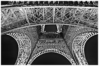 Eiffel Tower structure by night. Paris, France (black and white)