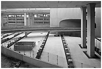 Concrete structures, Roissy Charles de Gaulle Airport. France ( black and white)