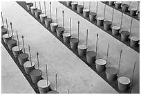 Barrels and sticks,  Roissy Charles de Gaulle Airport. France ( black and white)