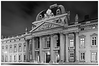 Ecole Militaire by night. Paris, France ( black and white)