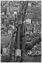 Metro line seen from above. Paris, France ( black and white)