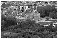 Senate and Luxembourg gardens from above. Quartier Latin, Paris, France ( black and white)