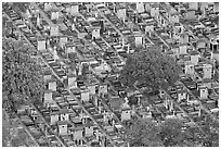 Aerial view of tombs, Montparnasse Cemetery. Paris, France (black and white)