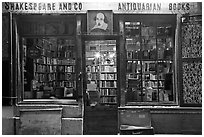 Shakespeare and Co bookstore at dusk. Quartier Latin, Paris, France ( black and white)