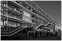 Facade of the Pompidou Center, designed by Renzo Piano and Richard Rogers. Paris, France (black and white)