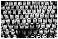 Array of candles, Notre-Dame cathedral. Paris, France (black and white)