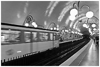 Subway train and station. Paris, France ( black and white)