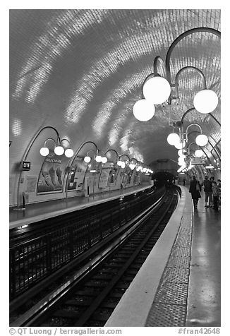 Glistening metro station. Paris, France (black and white)