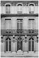 Facade of hotel particulier. Paris, France ( black and white)