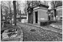 Memorials and tombs, Pere Lachaise cemetery. Paris, France ( black and white)