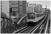 Metro on an above-ground section. Paris, France ( black and white)