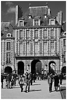 Pavillion de la Reine, Place des Vosges. Paris, France ( black and white)