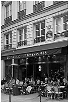 Cafe, rue Vielle du Temple, the Marais. Paris, France ( black and white)