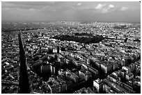 Streets and Luxembourg Garden seen from the Montparnasse Tower. Paris, France ( black and white)