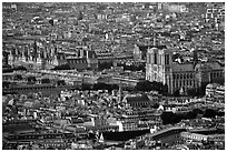 Hotel de Ville (City Hall) and Notre Dame seen from the Montparnasse Tower, sunset. Paris, France (black and white)