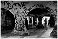 Gallery with graffiti. Paris, France (black and white)