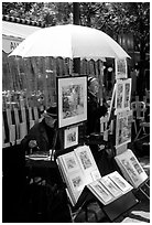 Painters on Place du Tertre,  Montmartre. Paris, France (black and white)
