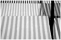 Cloth covers of market stands, Nice. Maritime Alps, France (black and white)