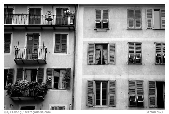 Houses painted in pastel colors, Nice. Maritime Alps, France (black and white)