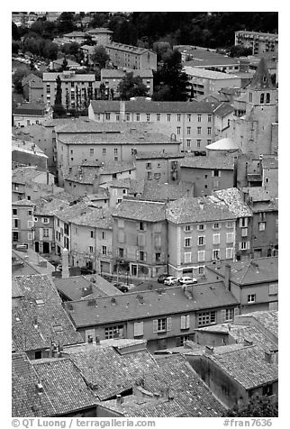 The old town of Sisteron. France (black and white)
