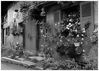 Flowered houses in village of Le Tour, Chamonix Valley. France (black and white)