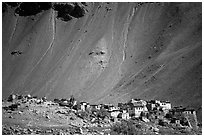 Village and scree slope, Zanskar, Jammu and Kashmir. India (black and white)