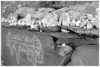 Stones and mani wall, Zanskar, Jammu and Kashmir. India (black and white)